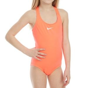 NWT NIKE GIRLS' SOLID RACERBACK ONE-PIECE SWIMSUIT